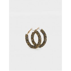 Medium Rhinestone Hoop Earrings 1560831GDU