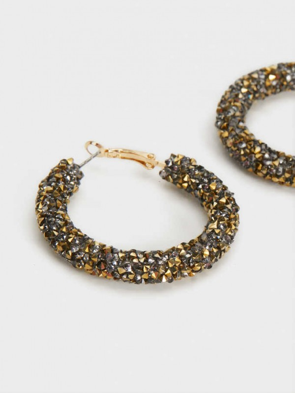Medium Rhinestone Hoop Earrings