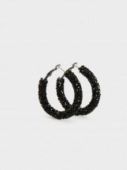 Medium Rhinestone Hoop Earrings Халки в черен цвят