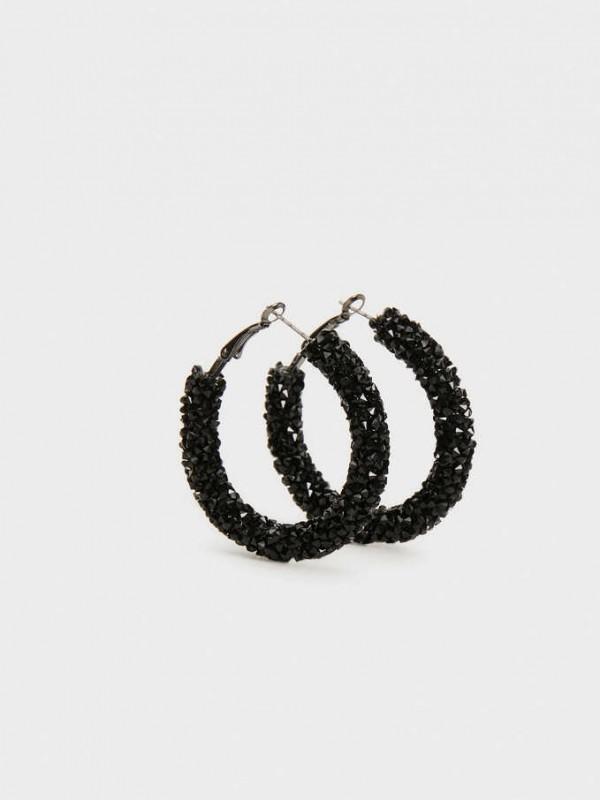 Medium Rhinestone Hoop Earrings