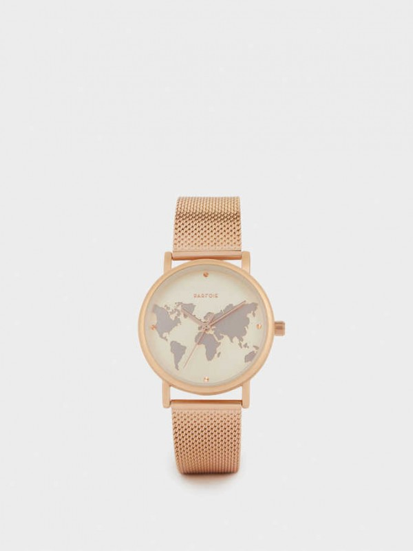 Watch With Steel Strap And World Map Face