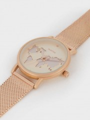 Watch With Steel Strap And World Map Face Часовник - златист с картата на света