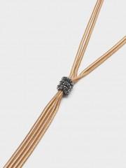 Long Knot Necklace With Crystals Дълго колие в златисто