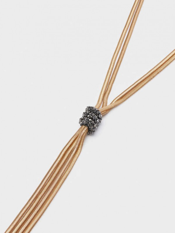 Long Knot Necklace With Crystals