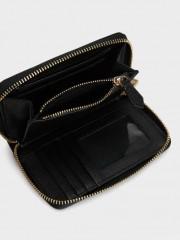 Plain Wallet Малък черен портфейл с цип