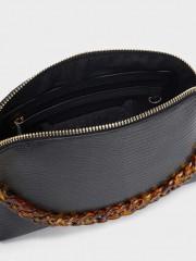 Twist Crossbody Bag Малка черна чанта с дълга дръжка