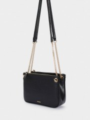Acua Animal Embossed Crossbody Bag Малка черна чанта с три разпределения