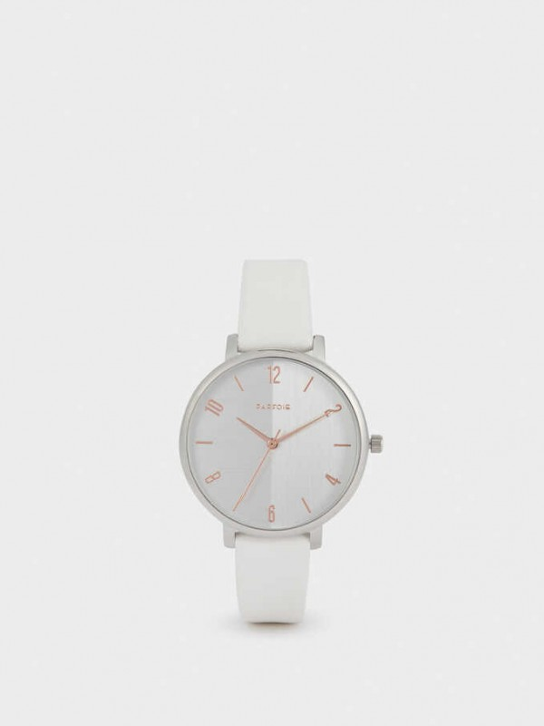 Watch With Leather Texture Strap