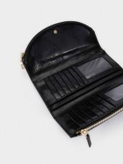 Quilted Wallet Черен портфейл с два ципа