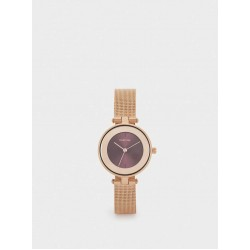 Watch With Metal Mesh Strap And Contrasting Face 180927_RGU