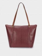Snakey Shopper Bag Чанта в бордо с дръжки за рамо