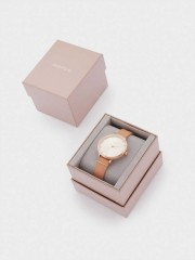 Watch With Textured Leather Wristband