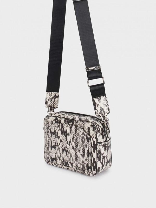 Embossed Faux Snakeskin Crossbody Bag