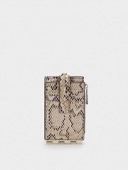 Embossed Animal Print Card Holder With Coin Purse Кардхолдер с цип и дръжка