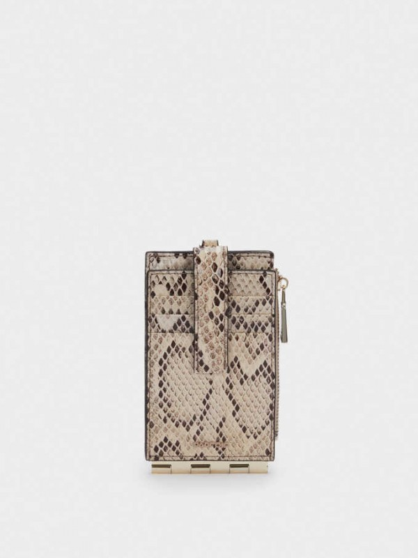 Embossed Animal Print Card Holder With Coin Purse