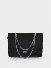 Quilted Nylon Crossbody Bag Голяма черна текстилна чанта с метални дръжки