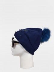 Зимна шапка Шапка с помпон от естествен косъм