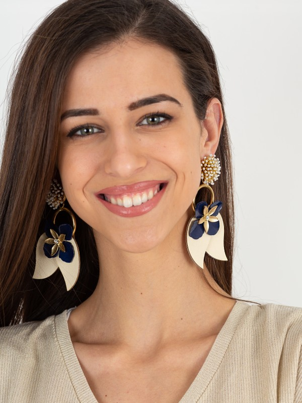 Long Flower Earrings With Crystals
