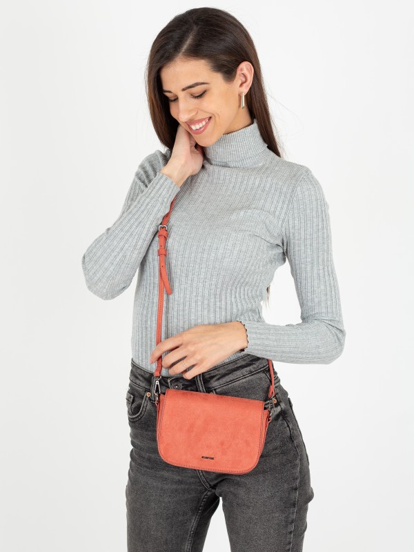 Textured Faux Suede Crossbody Bag With Removable Strap